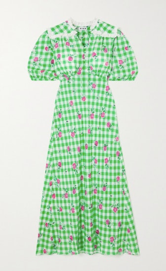 Gwen Gingham Floral-Print Crepe Midi Dress