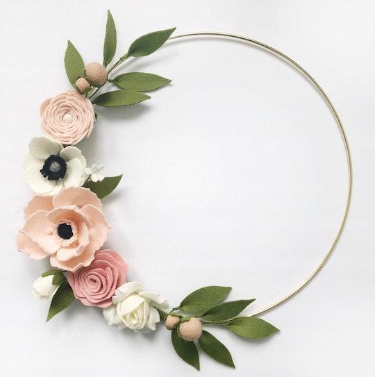 felt flower wreath for mother's day