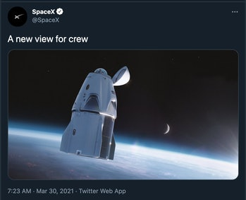 """""""a view for one"""" with a picture of the crew dragon"""