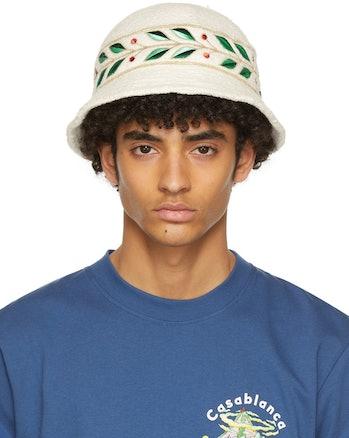 Casablanca White Laurel Panel Hat