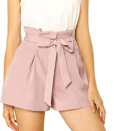 Allegra K High Waist Paper Bag Shorts