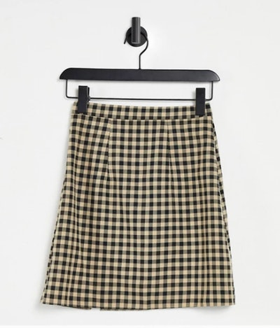 Tall mini skirt with notch hem in checkered print