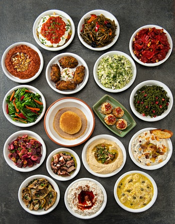 Fast and diet: mediterranean diet with bowls of food