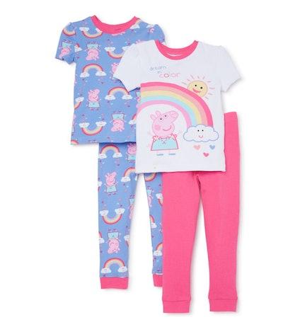 Peppa Pig Toddler Girl Snug Fit Cotton Short Sleeve Pajamas, 4pc Set