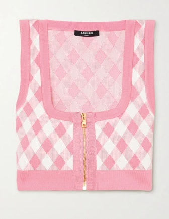 Cropped Gingham Jacquard-Knit Top