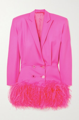 Feather-Trimmed Wool-Blend Twill Mini Dress