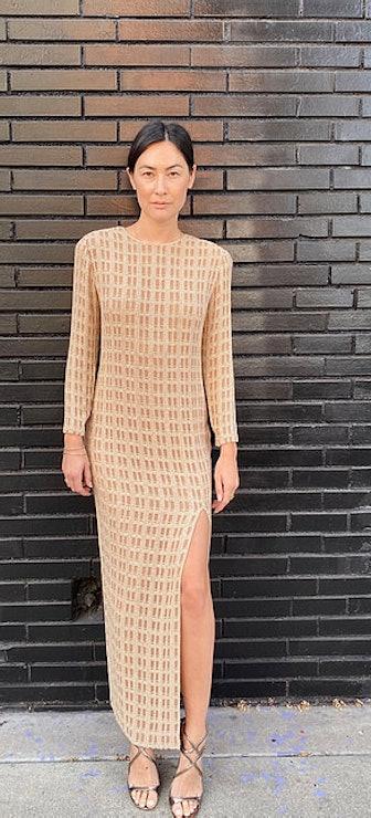 Calvin Klein White Beaded Full Length Maxi Gown/Dress