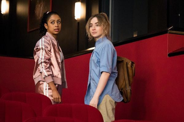 Liza Koshy as Jasmine Hale, Sabrina Carpenter as Quinn Ackerman of Work It. Cr. Brendan Adam-Zwelling/Netflix © 2020