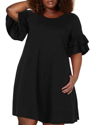 Nemidor Plus Size Ruffle Sleeve Jersey Knit Swing Dress