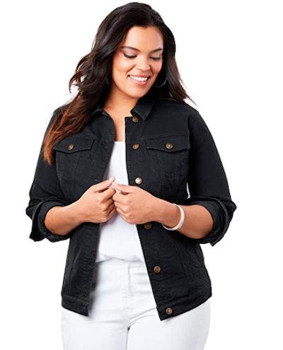 Roamans Plus Size Essential Denim Jacket