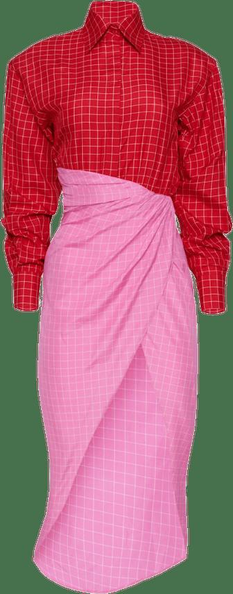 Windowpane Shirt Dress with Wrap Skirt