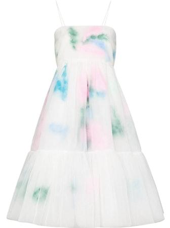 Feather-Detailing Layered Midi Dress