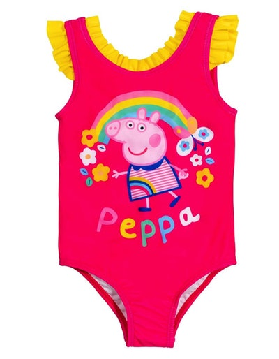 Peppa Pig Toddler Girls' Bathing Suit One Piece Swimsuit, 2T-4T, Bright Pink