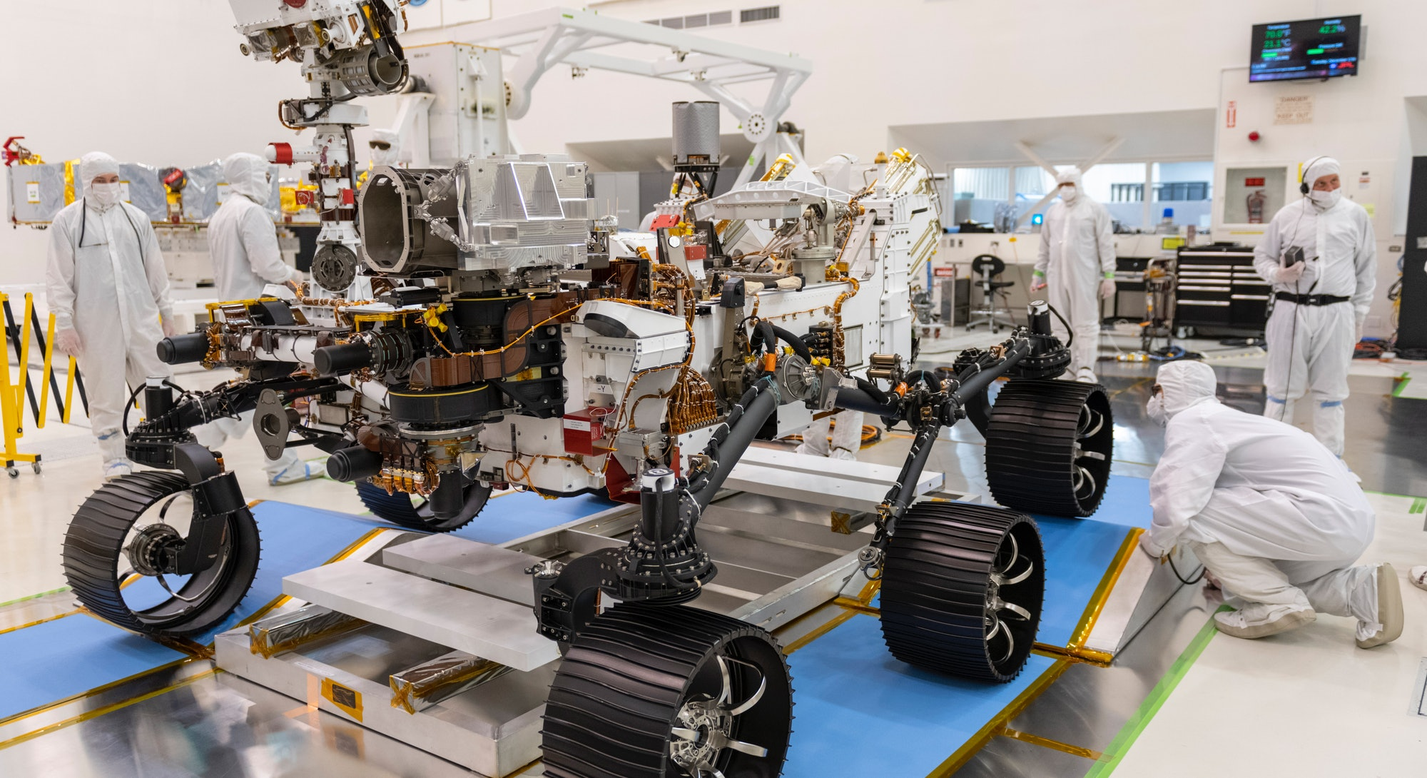 An image of the perseverance rover in the lab at NASA's Jet Propulsion Laboratory.