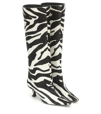 Zebra-Print Calf Hair Knee-High Boots