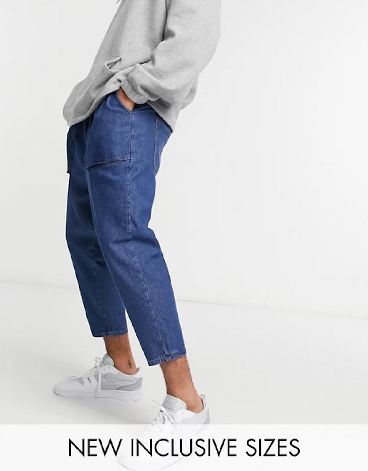 ASOS Design Lightweight Drop Crotch Jeans in Mid Blue