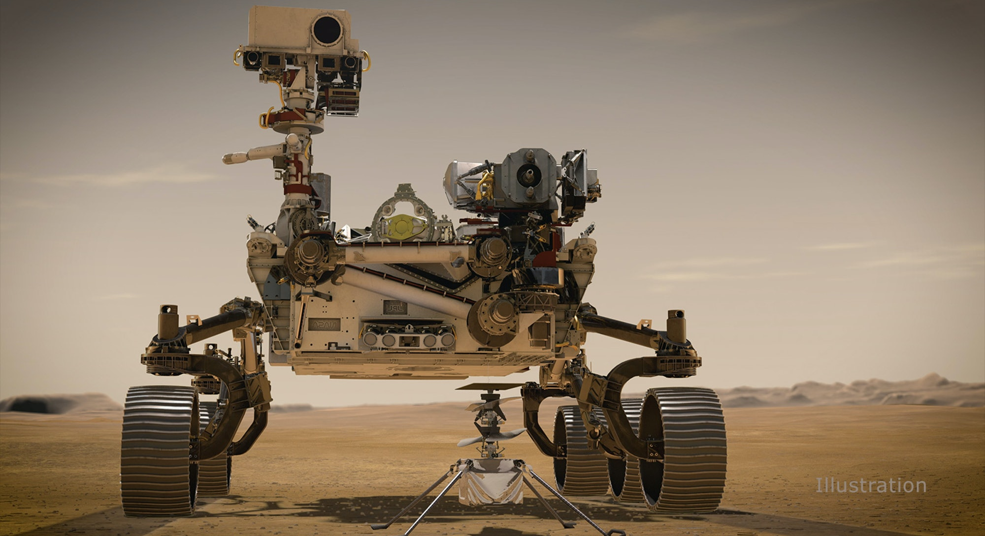 An illustration of the Perseverance rover on the surface of Mars.