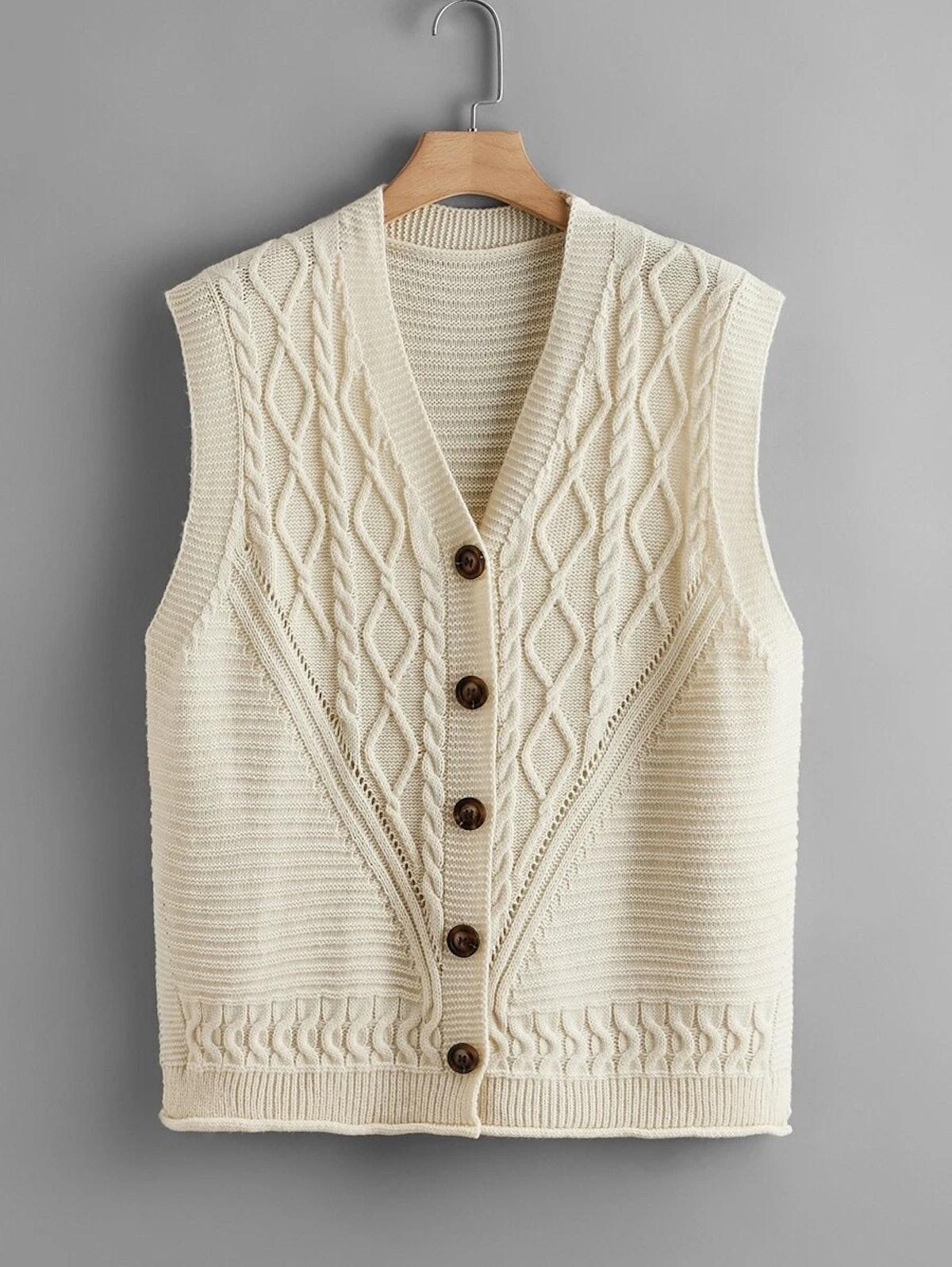 SHEIN Plus V-neck Button Front Sweater Vest