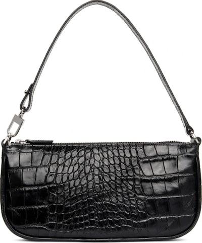 By Far Black Croc Rachel Shoulder Bag