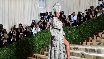 Rihanna arrives for the 2018 Met Gala on May 7, 2018, at the Metropolitan Museum of Art in New York....