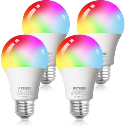Peteme Smart Color Changing Light Bulbs (4 Pack)