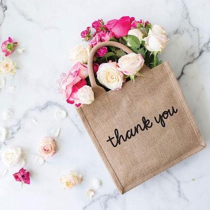 "12"" Reusable Burlap Gift Tote Bag - Thank You (Black Design)"