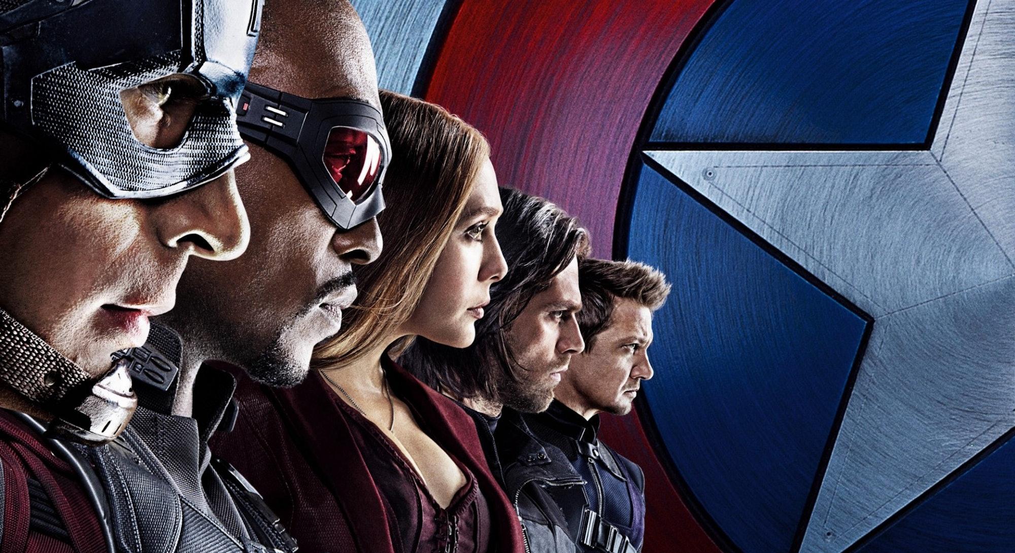 half of captain america civil war character poster facing right