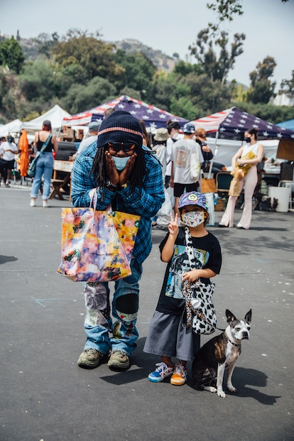 Street style from the Rose Bowl Flea Market reopening, April 2021.