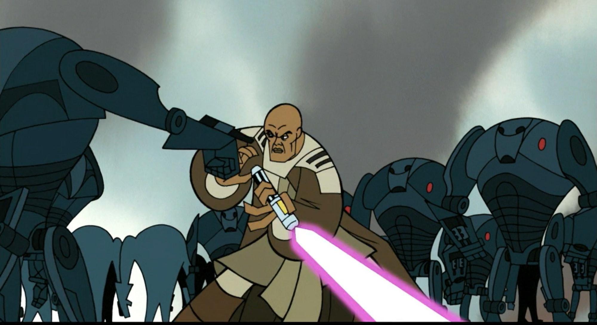 mace windu fighting droids in star wars clone wars screenshot
