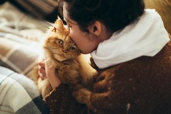 Woman kisses cat