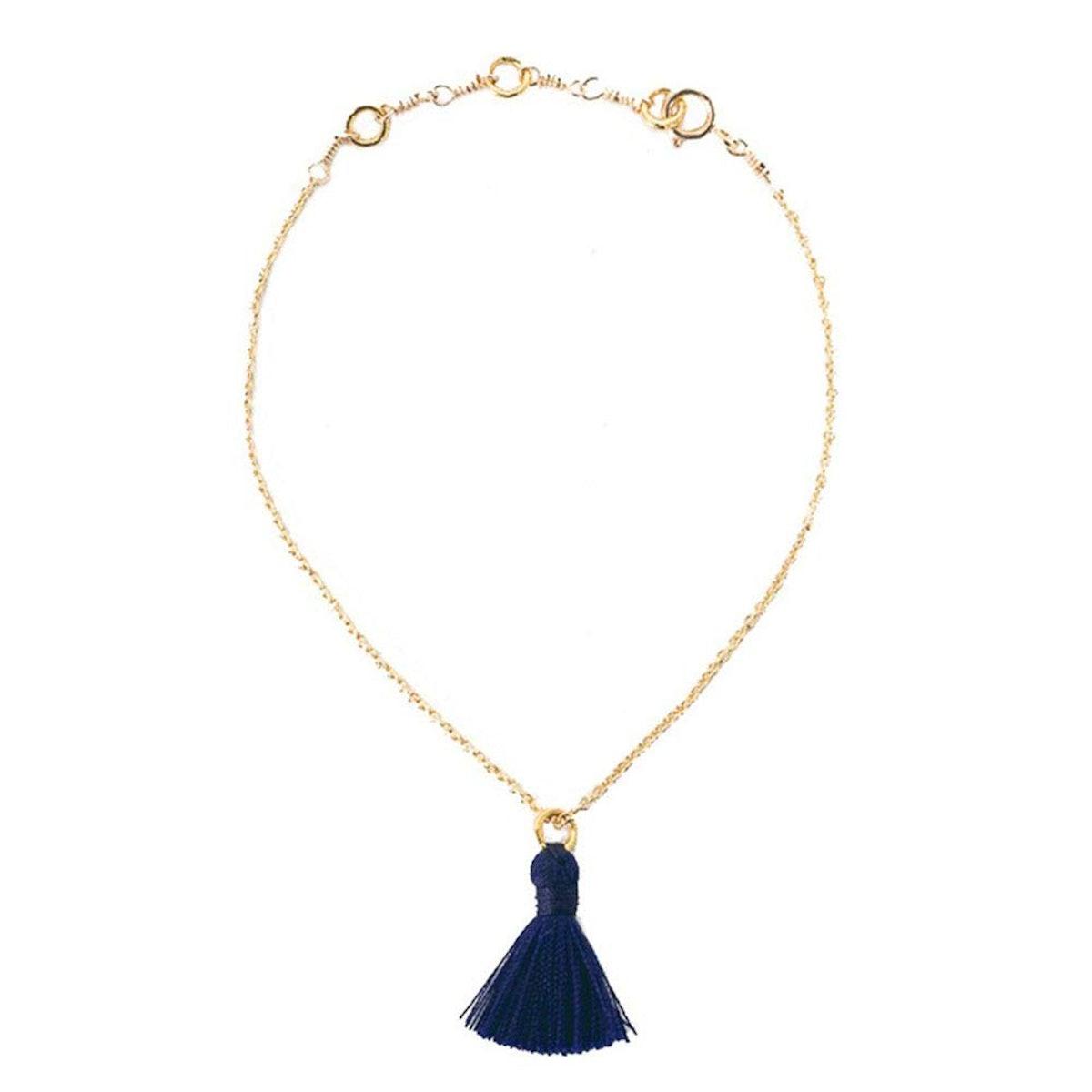 Dainty Tassel Bracelet - Navy, Dark Blue