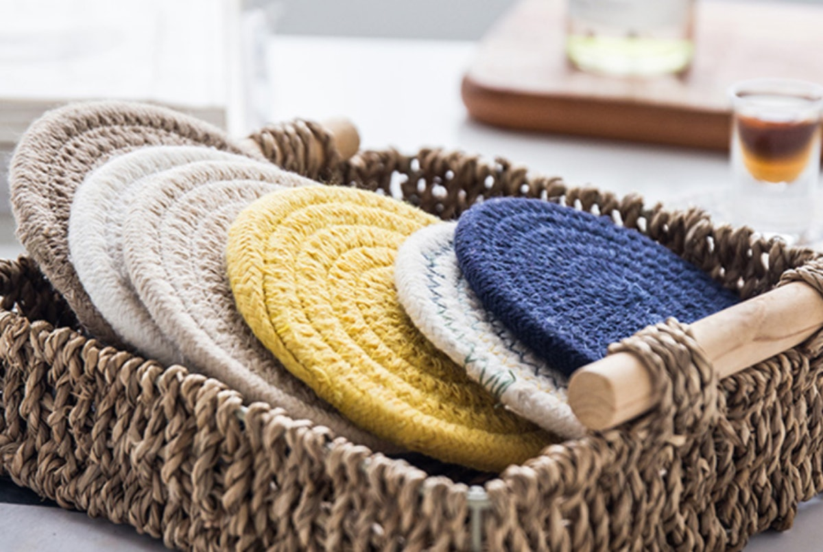 Leuceiy Braided Fabric Coasters (6-Pack)