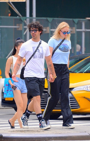 Joe Jonas and Sophie Turner seen out and about in Manhattan on July 31, 2018 in New York City.
