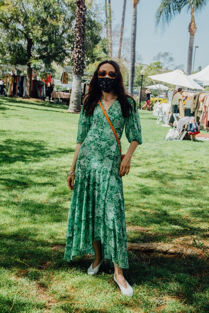 Street style look from the Pickwick Vintage Show, April 2021.