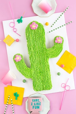 a cake made inn the shape of a cactus