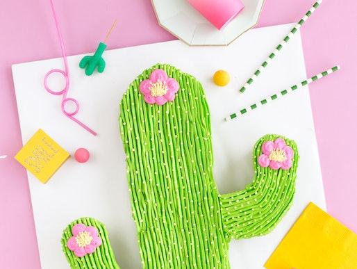 a cake made inn the shape of a cactus