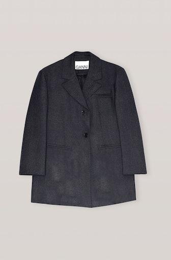 Grey Wool Suiting Oversized Blazer