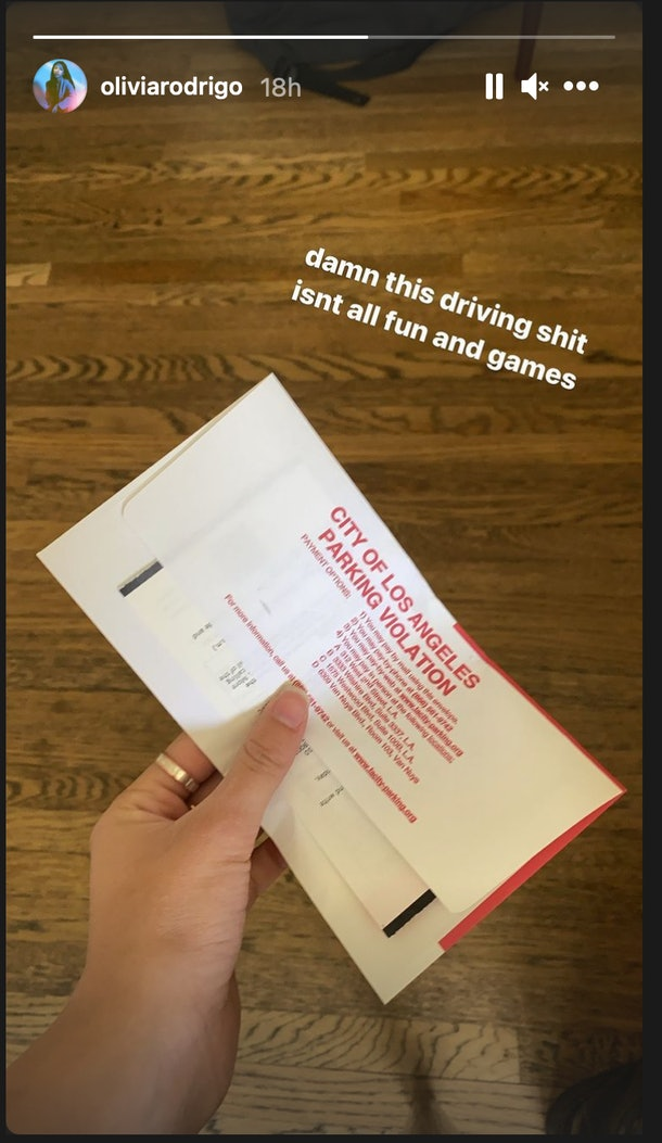 Olivia Rodrigo posts a photo of her parking ticket.