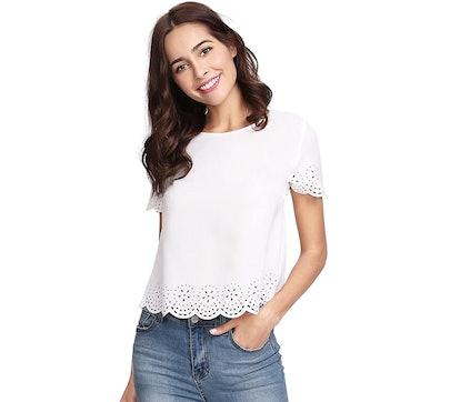 SheIn Scallop T-Shirt Blouse