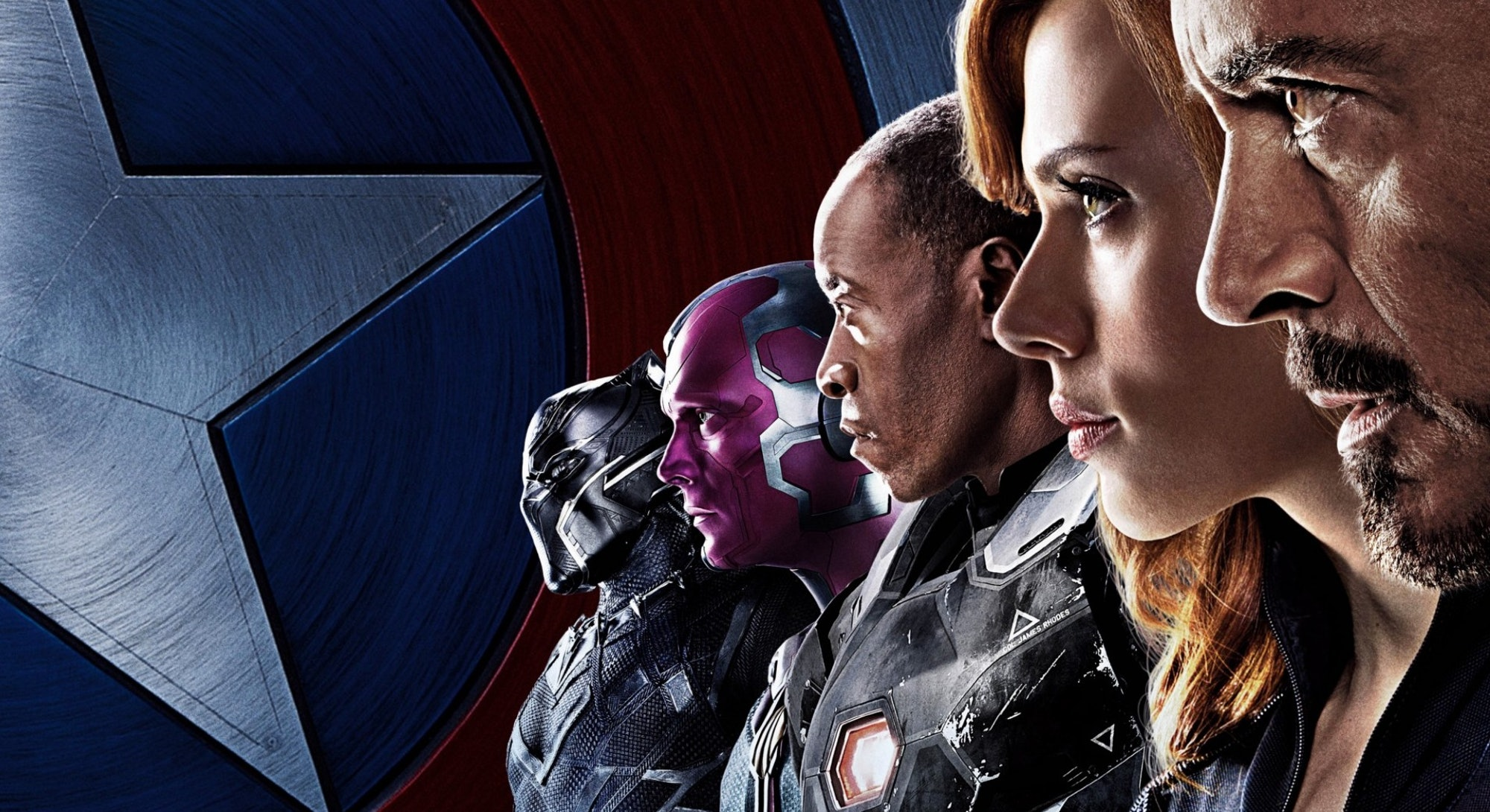 half of captain america civil war character poster facing left