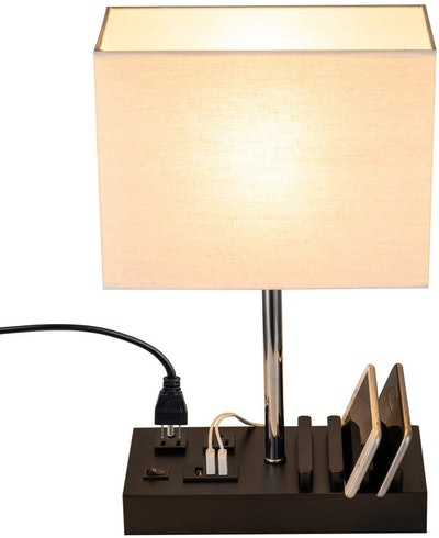 Briever Table Lamp with Charging Station