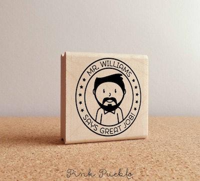 PinkPueblo2 Personalized Male Teacher Rubber Stamp