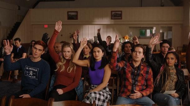 KJ Apa as Archie Andrews, Lili Reinhart as Betty Cooper, Camila Mendes as Veronica Lodge, Cole Sprouse as Jughead Jones, Vanessa Morgan as Toni Topaz in 'Riverdale' Season 5