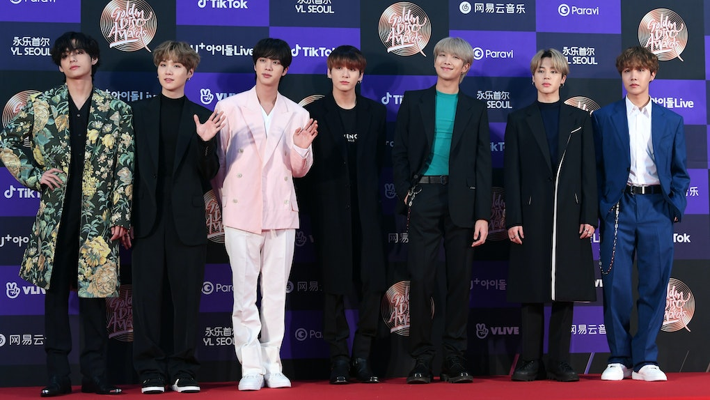 SEOUL, SOUTH KOREA - JANUARY 05: BTS arrives at the photo call for the 34th Golden Disc Awards on January 05, 2020 in Seoul, South Korea. (Photo by THE FACT/Imazins via Getty Images)