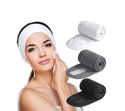 Denfany Ultra-Soft Adjustable Spa Facial Headbands (3-Pack)