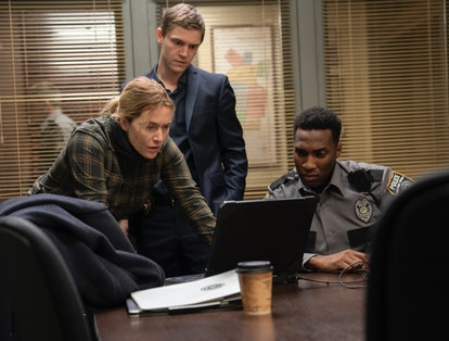 Kate Winslet, Evan Peters and Justin Hurtt-Dunkley in Mare of Easttown via Warner Media pressroom.
