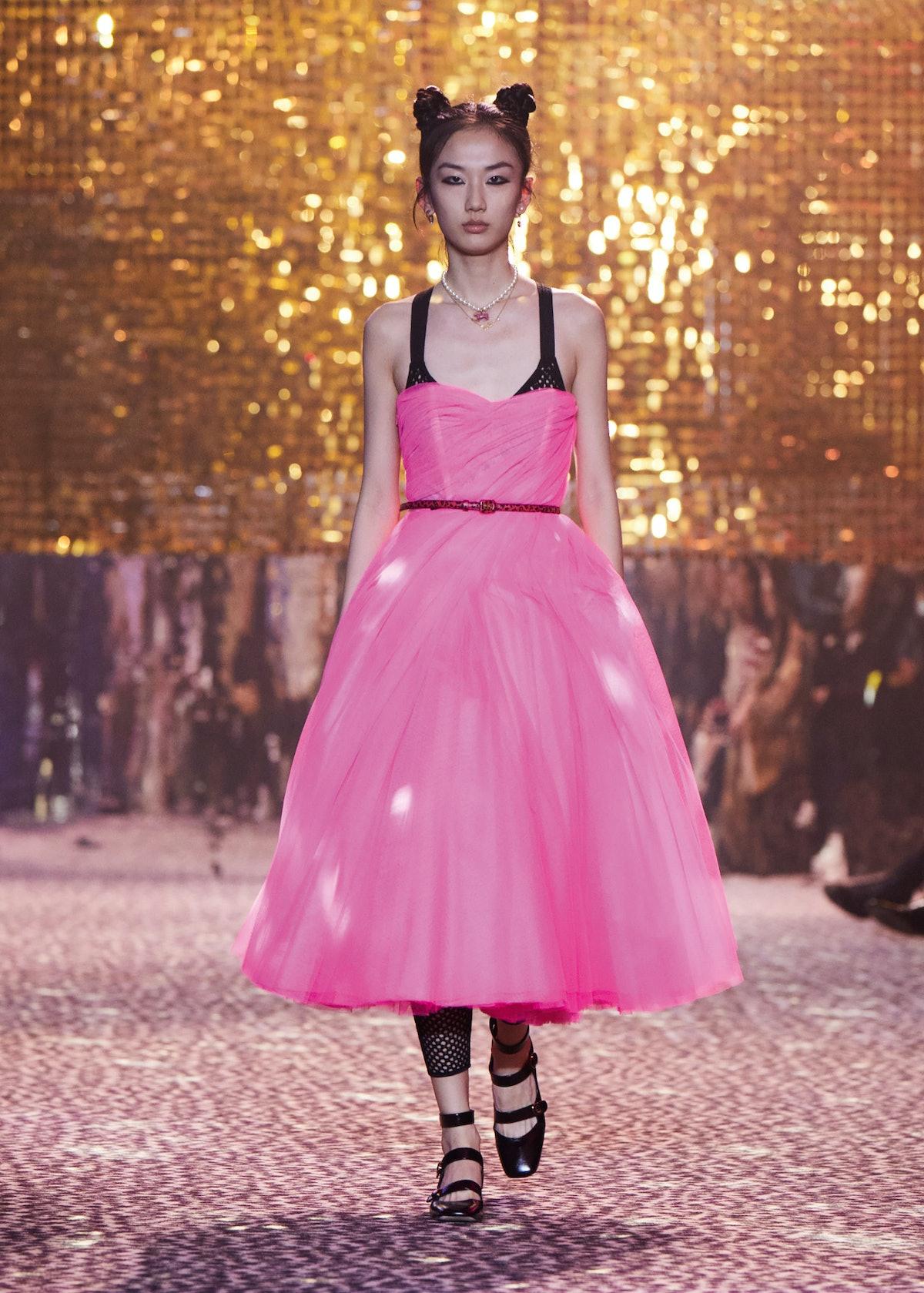 Model in pink dress