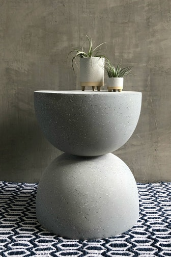 Fiberglass Terrazzo Side Table in Grey