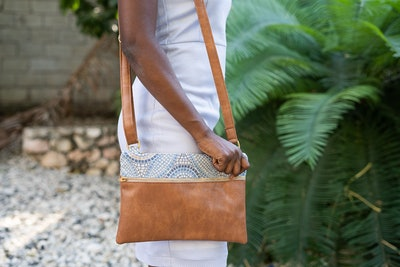 Chak Jou Crossbody in Linen/Gray with Pear Accents
