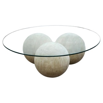 Valerie Modern Rustic Round Glass Top Reclaimed Wood Sphere Round Coffee Table
